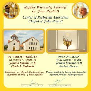Poświęcenie Kaplicy Wieczystej Adoracji im. św. Jana Pawła II w Jedlni Kościelnej @ Centrum Wieczystej Adoracji | Jedlnia-Kolonia | mazowieckie | Polska