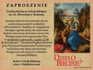 Msza św. na zakończenie roku formacyjnego w Szkole Biblijnej dla Dorosłych @ Kosciół pw. Chrystusa Kapłana w Radomiu | Radom | Mazowieckie | Polska